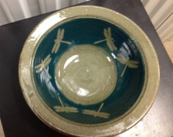 Large Dragonfly Bowl in Celadon