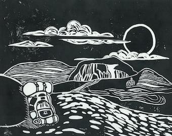 Table Rock | Linoleum Block Print | Hand Printed
