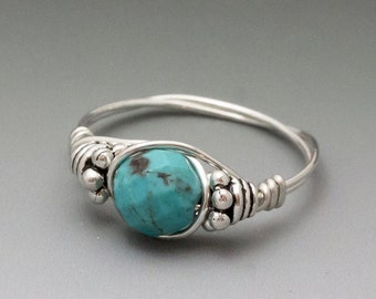 Turquoise Faceted Bali Sterling Silver Wire Wrapped Bead Ring - Made to Order, Ships Fast!