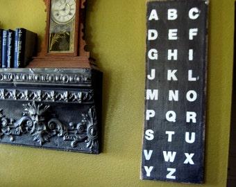 Alphabet Sign, ABC Sign, Alphabet Art, ABC Art, A-Z Sign, Black and White Art, Black and White, Custom Sign, Subway Art, Wall Art, Alphabet