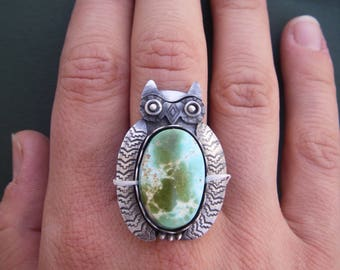 Owl ring with turquoise belly