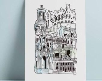 Edinburgh A3 Illustrated Stacking cityscape print
