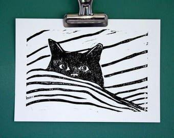 """Black cat linocut - block print - original cat print - minimalist cat art - kitty art - 5""""x7"""""""