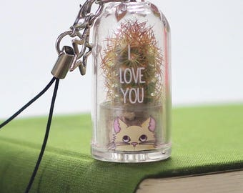 Personalised Cat Lovers Cactus Keychain