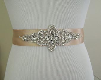 Wedding Sash Belt,Bridal Sash,Rhinestone Sash,Beaded Sash,Champagne Wedding Sash