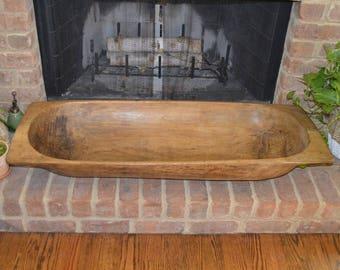 """Antique Vintage Original Wooden Dough Bowl Trencher - 45"""""""