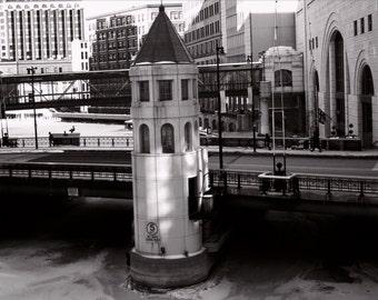 Milwaukee River Bridge in Black and White photo