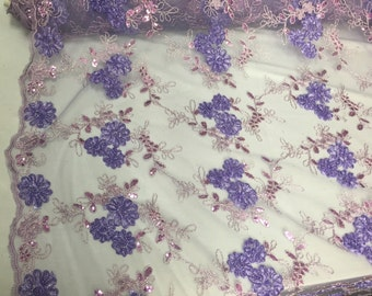 Lilac 3d ribbon flowers embroider with a metallic tread and sequins on a mesh lace fabric-wedding-bridal-prom-nightgown- sold by the yard-