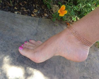 Rose Gold Anklet - Rose Gold Ankle Bracelet - Body Jewelry - Beach bride - Bridal Anklet - Beach Wear - Beach Wedding - Rose Gold Weave