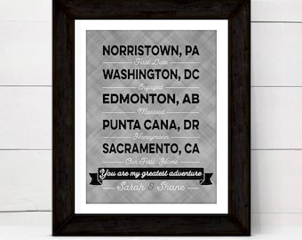 first anniversary gift for wife women her, Custom wall art canvas, where we met wedding location