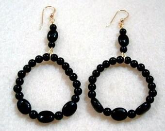 Black Onyx Hoop Earrings, Stone Bead Jewelry, Handmade Beaded Jewelry, Beaded Hoop Earrings, Goldfilled Earwires