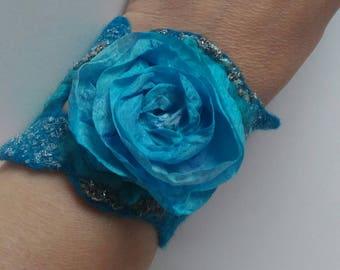 Flowers cuff bracelet Nuno felted cuff Turquoise rose  bracelet Romantic cuff