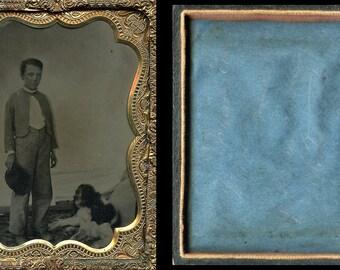 Wonderful 1/4 Tintype - Little Boy with Spaniel Dog + Hidden Person // Date & Note