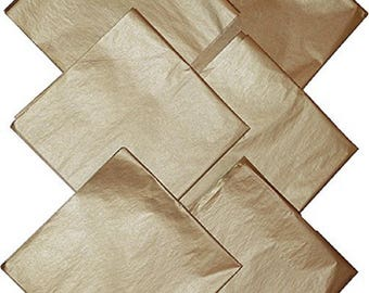 Beautiful Metallic Gold Tissue Paper - 50 Sheets NIP - Weddings - Anniversaries - Birthdays- Holidays - Gifts - Crafts - FREE US Shipping!