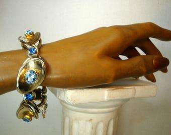 Modernist Gold Linked Bracelet, 1960s  Gaudy BLUE Glass Rhinestone Focals, Spacey Art Moderne