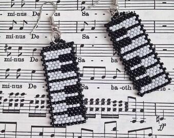 Piano Keys Earrings | black and white earrings | gift for pianist | monochrome earrings | gifts for teachers| musicians jewellery