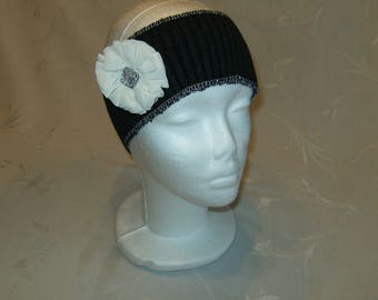 Black Ear Warmer with White Flower, Upcycled Sweater Ear Warmer, Winter Headband with Removable White Flower Pin