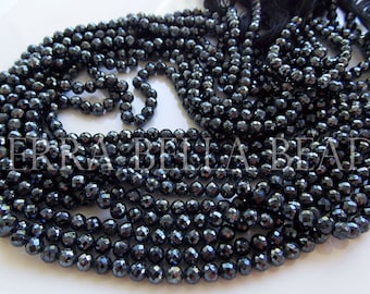 "13"" strand silver mystic-coated black SPINEL faceted ROUND gem stone beads 4mm - 4.5mm"