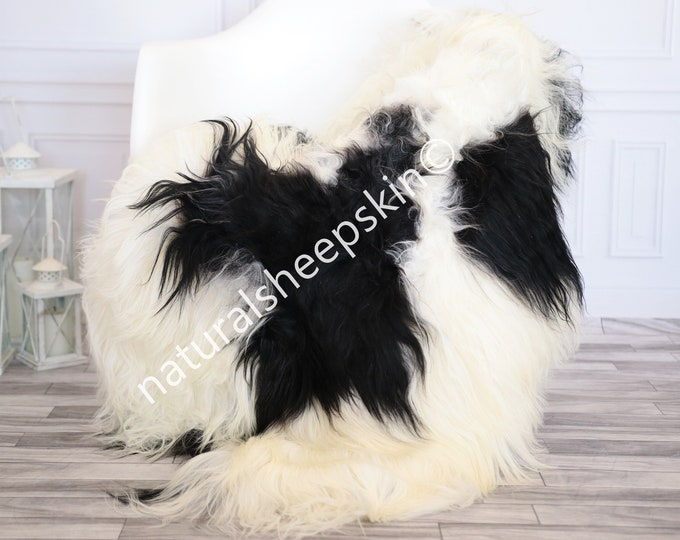 Icelandic Sheepskin | Real Sheepskin Rug | white black Sheepskin Rug | Fur Rug | Homedecor #febisl33