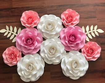 """SVG COMBO of Small and Mini Rose Paper Flower Template DIY Cricut and Silhouette machines ready Center Bud included 8-9"""" and 5-6"""""""