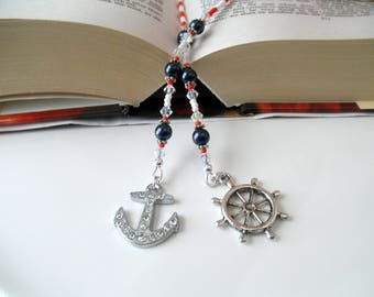 Anchor Beaded Book Thong - Red White and Navy Blue Bookmark - Nautical Bookmark, Beach Bookmark, Anchor Bookmark, Ship Wheel Bookmark