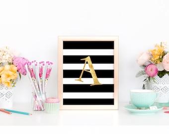 Black and Gold- Monogram, Name Initial Monogram, Letters, Wall Art, Wall Decor, Initials, Printable, Digital Print, Calligraphy Monogram