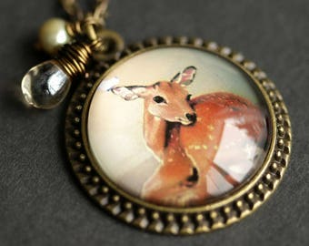 Sleepy Deer Necklace. Baby Deer Pendant. Fawn Necklace with Pale Brown Teardrop and Fresh Water Pearl. Wildlife Necklace. Bronze Necklace.