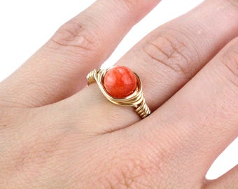 Gold Red Ring, Red Stone Ring, Red Gemstone Ring, Gold Orange Ring, Wire Wrap Ring, Wire Wrapped Ring, Boho Ring, Bead Ring, Beaded Ring
