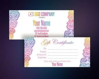 Gift Certificate - Gift Card - Surprise Card - Gift Voucher - Business Cards - Loyalty card - Home Office Approved Color&Font