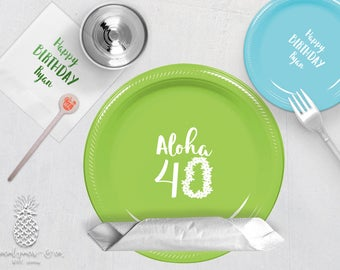 Aloha Luau Birthday Party Plates, Napkins, Cups or Stir Sticks | social graces and Co
