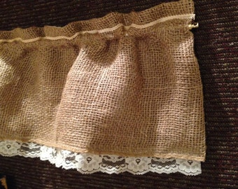 BURLAP & Lace, Lined Curtain VALANCE Door Window Small Toppers.  Custom Made