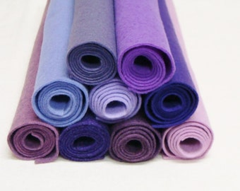 "Purple 9 Color Pack Wool Felt Blend Fabric Sheets Size 9"" x 12"""