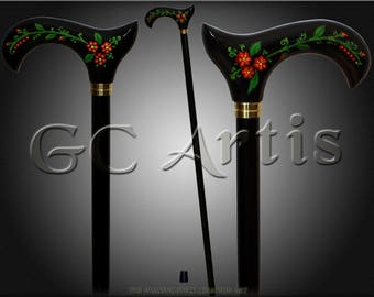 Hand Painted walking stick cane Artist fill Flowers cane for women Ladies Female Derby Style Handle Black wooden carved walking cane stick