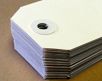 25 White Manilla Medium (size 3) Parcel Shipping Tags . 3.75 x 1.875