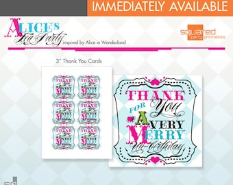 "Alice in Wonderland Inspired Tea Party Printable 3"" Square Thank You Tag / Note Cards - DIY Print - Alice's Tea Party - Instant Download"