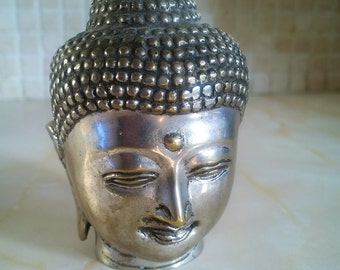 Vintage Buddah Antiqued Silver Head Statuette, Oriental Decor, Zen, Meditation