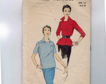 1950s Vintage Sewing Pattern Advance 6934 Misses Blouse Top Size 14 Bust 32 1950s 50s