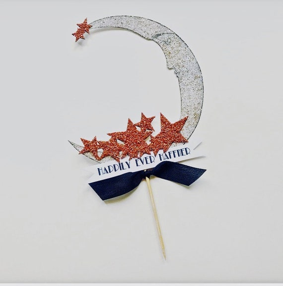 Cake Topper, Moon and Stars, Personalized Banner, Custom Wording, Rose Gold, Art deco