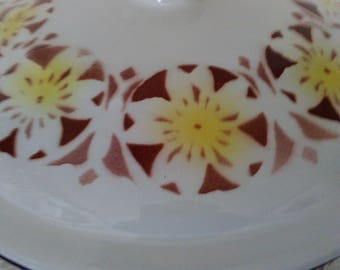 Vintage Enamel Bumper Harvest Made In China Covered Bowl - Yellow Red and White