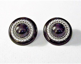 Black Twisted Rope Pierced Post Stud Earrings Silver Tone Vintage Accent Twisted Rope Thin Rings Large Buttons