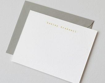 Personalized Gold Foil Stationery | Slab Serif Font, Custom Name