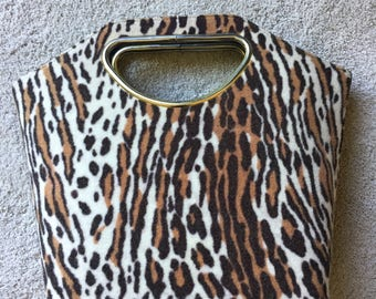 Vintage 1960's Cut Out Handle Faux Leopard Handbag