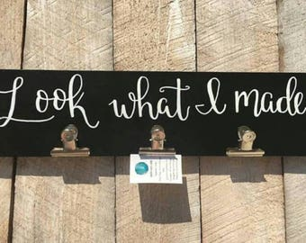 Customized Artwork Display // Kids Art // Art Gallery // Look What I Made // Wood Sign // Metal Clips// Created by GreenValleySigns