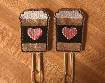 Gold and Black Glitter Coffee Paper Clips