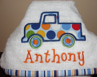 Hooded Appliqued Truck Baby or Toddler Towel