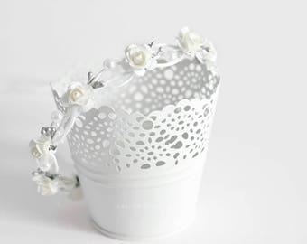 Baptism headband, Christening headband, White gray crown, Wedding floral crown, Flower girl halo, White flower crown First Communion wreath