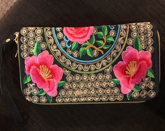 Pink and red handmade rose wallet