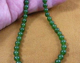 16 inch long Green Jade round Beads bead beaded Necklace jewelry V308-10-16