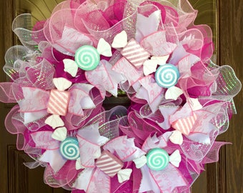 Etsy Large Handmade Baby Girl Gift Wreath With Ruffles & Candy on Etsy   Pink and White White Wreath   Wreaths on Etsy   Etsy Wreaths
