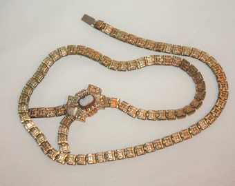 Antique Victorian 10 kt GF Cameo Bookchain Necklace 1910s Jewelry